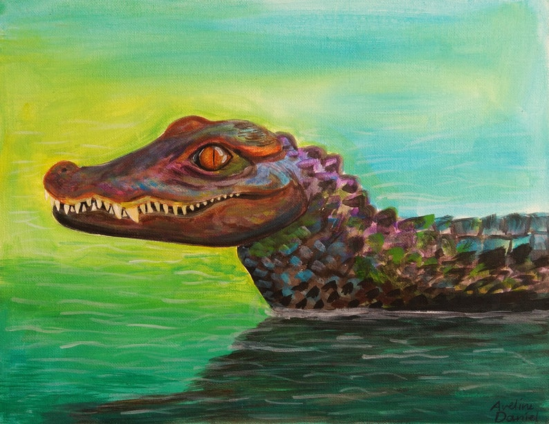 Crocodile in the water  Original Acrylic Painting on Canvas image 0