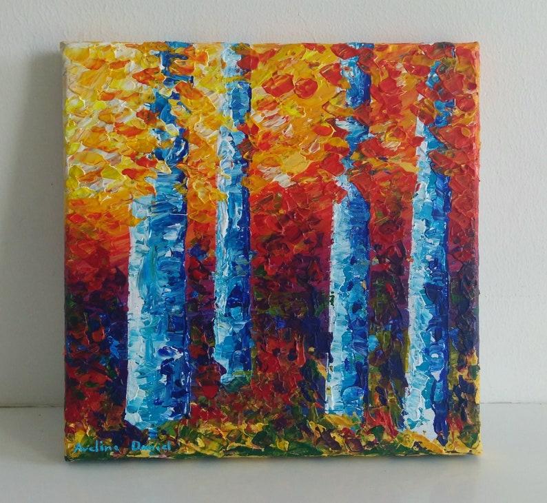 Colourful Blue Birches  Palette Knife  Original Acrylic image 0