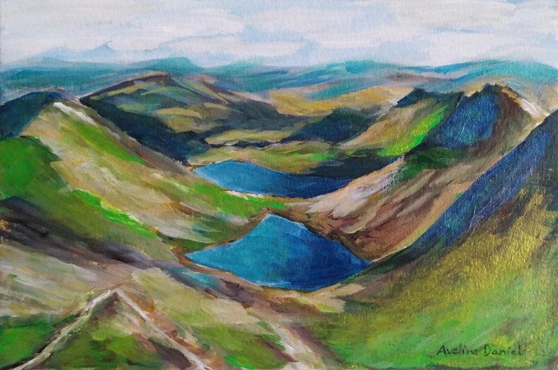 Mount Snowdon View  Original Acrylic Painting on a Flat image 0