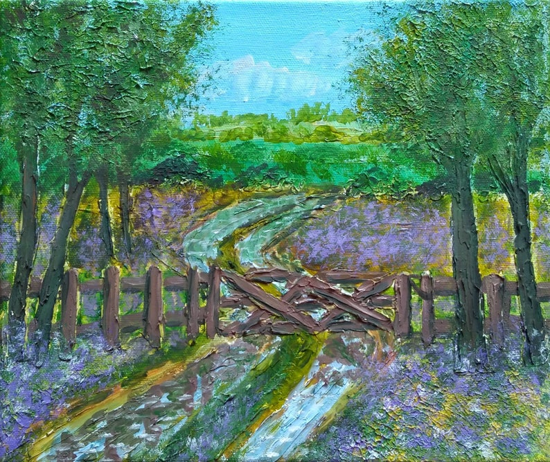 Flooded Country Lane  Acrylic Heavily Textured Painting  image 0