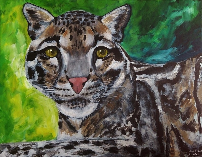 Clouded Leopard  Original Acrylic Painting on Box Canvas  image 0