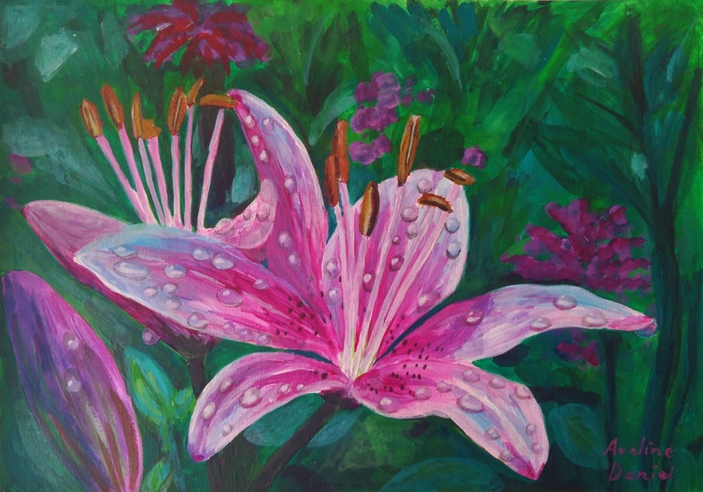 Pink Lily with Rain Drops  Original Acrylic Painting on image 0