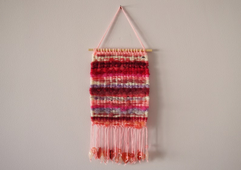 Hand Woven Wool Tapestry  Pink  6x11  Wall image 0