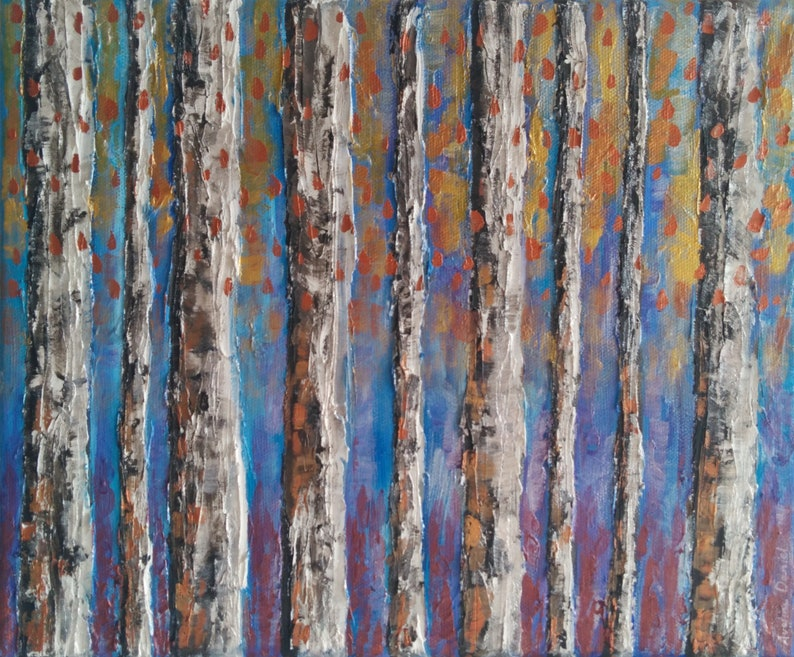 Colourful Abstract Silver Birch Trees  Original Acrylic image 0
