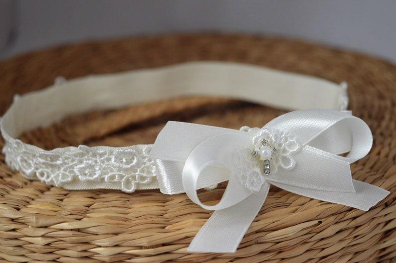 Baby headband white bow sequin hairband for baptism christening wedding Handmade