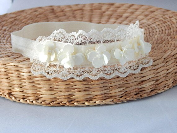 Baptism handmade headband ivory baby hair band christening tiara flower girl UK