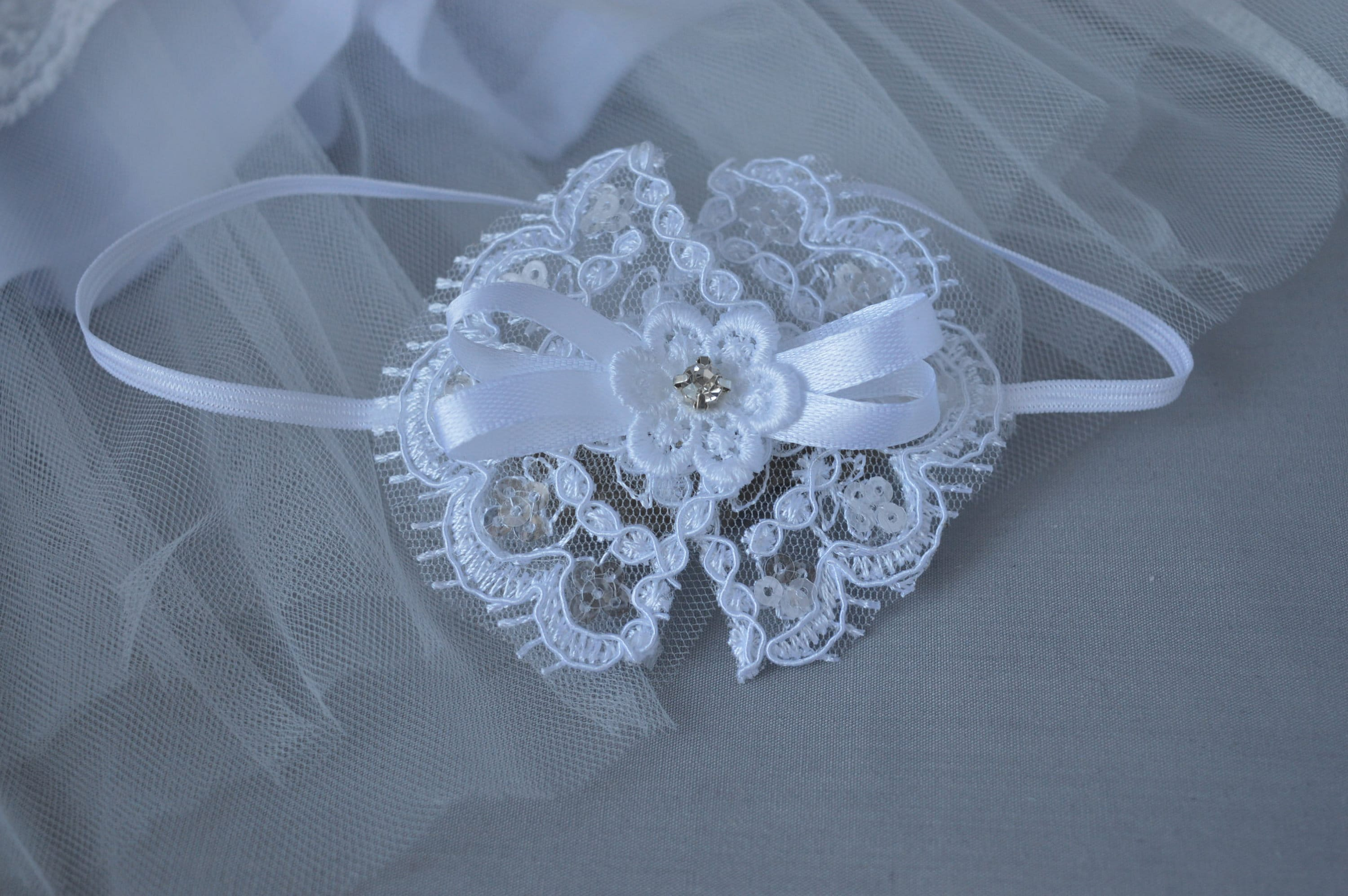 Christening White baby bow hair band for baptism satin lace classic bow Handmade