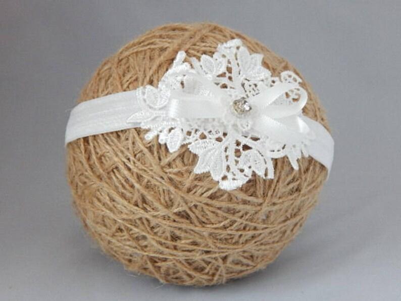 Christening baby headband off white tulle lace hair band for baptism Handmade UK