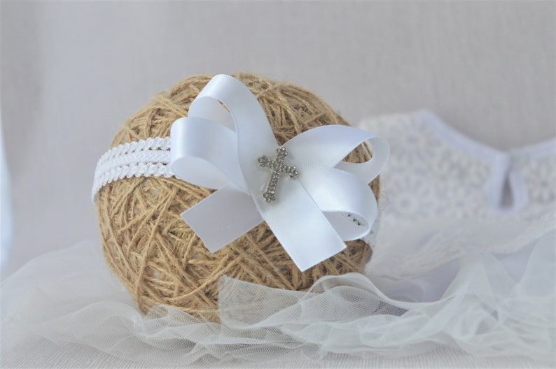 lace baby headband Baby bow elastic hairband for baptism christening white baby headpiece with a classic satin bow and diamante cross