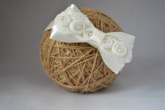 White baby bow headband flower baby hairband for baptism christening UK Handmade
