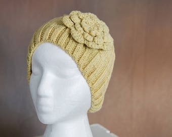 Yellow Knit Beanie with Crochet Flower