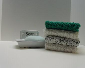 Washcloths, Dishcloth, Crocheted Washcloth, Crocheted Dishcloth, Kitchen Cloths, Bathcloths, Green Washcloth, Green Dishcloth