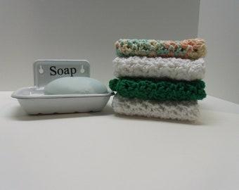 Washcloth, Dishcloth, Crocheted Washcloth, Crocheted Dishcloth, Kitchen Cloth, Bathroom Cloth, Green Washcloth, Green Dishcloth