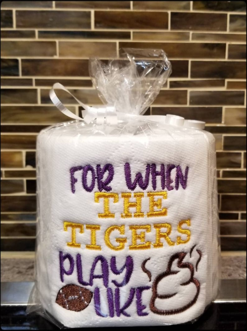 Lsu Football Gag Gift Embroidered Toilet Paper Gag Gift Etsy