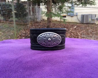 Womens Tooled Black Leather cuff with Floral concho