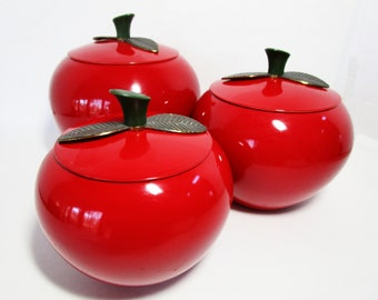 Red Apple Canisters Etsy