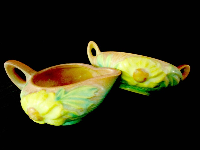 Roseville Pottery Peony Creamer and Sugar Bowl Pink Blue image 0
