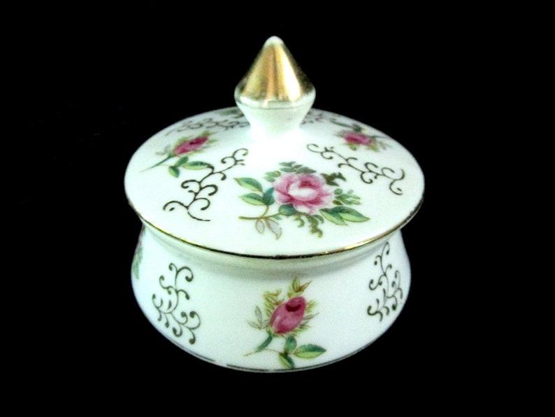 Vintage Lidded Trinket Dish IW Rice Porcelain Ring Dish image 0