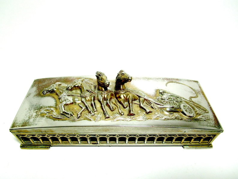 Mens Jewelry Box Horses and Fire Wagon Roman Chariot Deep image 0