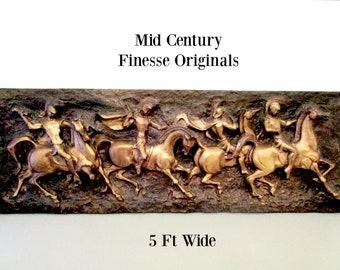 Finesse Originals, Roman Centurions on Horseback, Fighting Centurions, Mid Century Wall Decor, Statement Piece, 5 Ft Wide