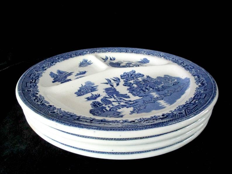 Antique Blue Willow Grill Plates Set of 4 John Steventon image 0