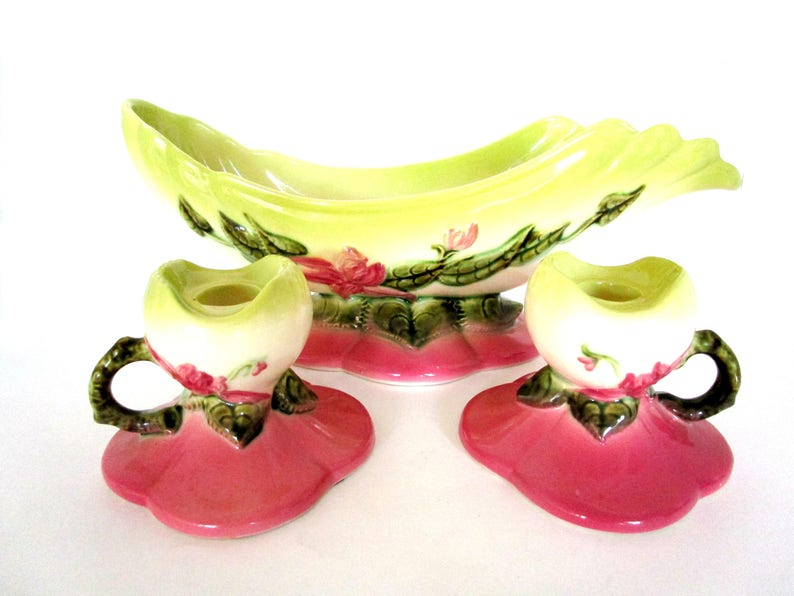 Hull Pottery Woodland Console Bowl and Candle Holders Hull image 0