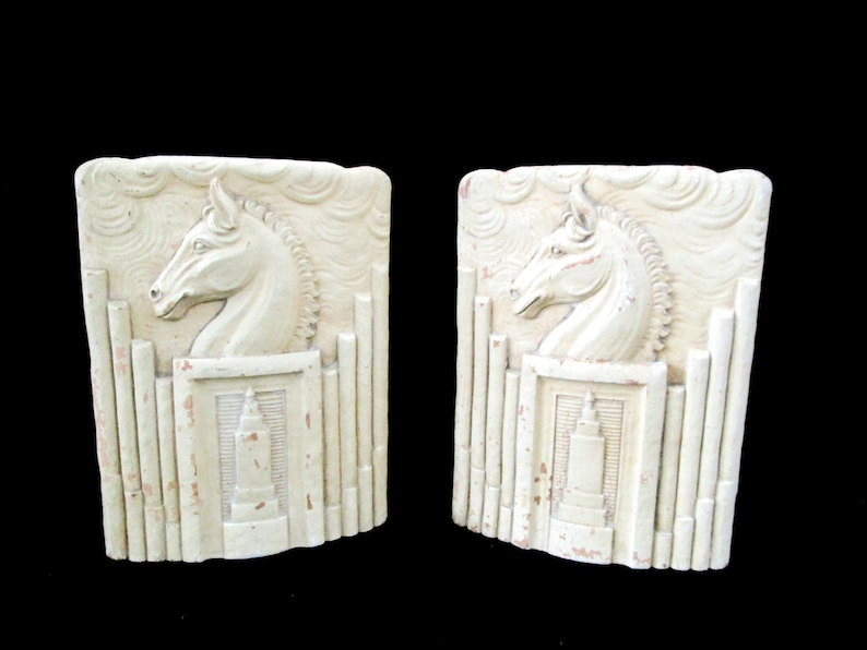 Vintage Horse Head Bookends Syroco WoodArt Deco Horse image 0