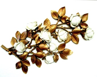 Huge Syroco Wall Decor, Gold and Creamy White Flowers and Leaves, Roses, Gold Leaves, Hollywood Regency Decor