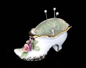 Vintage Pincushion, Boot Shoe Pin Cushion, Flowered Shoe or Boot, Dresser Pin Cushion, Flowers with Gold Trim, Mothers Day Gift