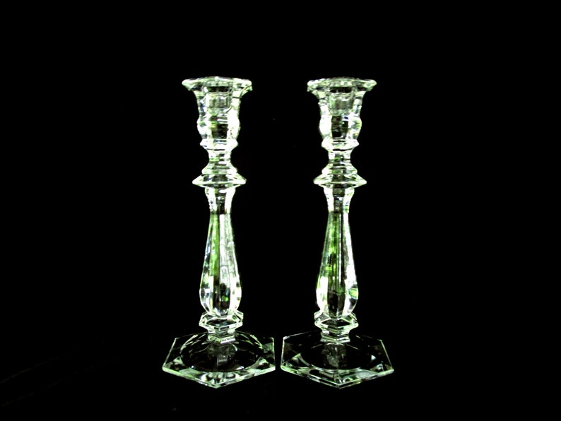 Pair Imperial Estate Crystal Candle Holders Tall Lead image 0