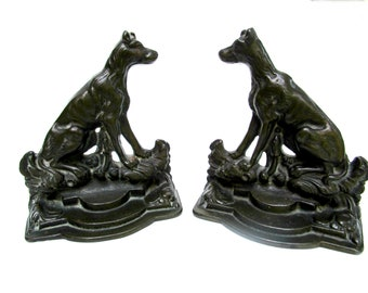 Hunting Dog Bookends, Sportsmans Friend, Marked Hahn, Antique Bookends for Hunters and Dog Lovers, Heavy Cast Metal