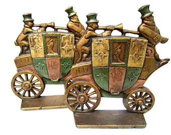 Antique Bookends, Carriage or Coach, Royal Wedding Gift Bookends, Nuydea of England Bookends with Coachmen