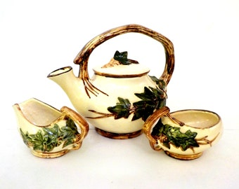 McCoy Pottery Ivy Teapot with Cream Pitcher and Sugar Bowl, American Art Pottery, Collectible Pottery, English Ivy McCoy, Cottage Decor