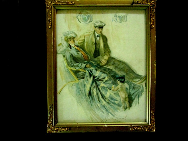 Antique Art Print Framed Cassel Print Victorian Couple on image 0