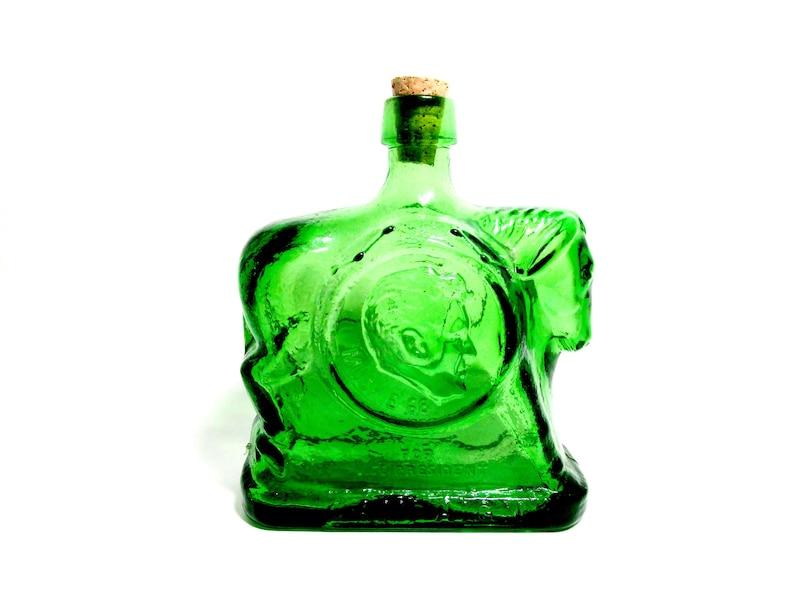 Wheaton Glass Democratic Party Donkey Bottle Green Glass image 0