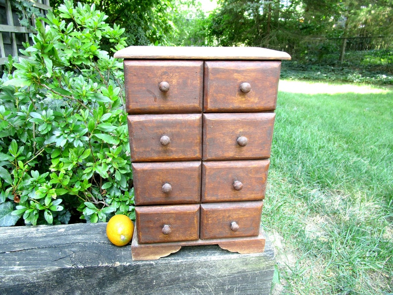 Vintage Spice Cabinet 8 Drawers Apothecary Cabinet image 0