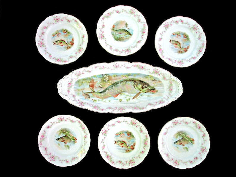 Antique Limoges Fish Platter 6 Dinner Plates Hand Painted image 0