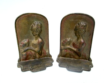 Antique Bookends, Victorian Lady Bookends, Art Nouveau Parlor Decor, Perfect Gift for Book Lovers or Book Club, 1910s