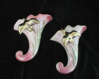 Set of 2, Wall Pockets or Planters, Gold Ducks, Cattails, Trumpet Shaped, American Art Pottery, Housewarming Gift