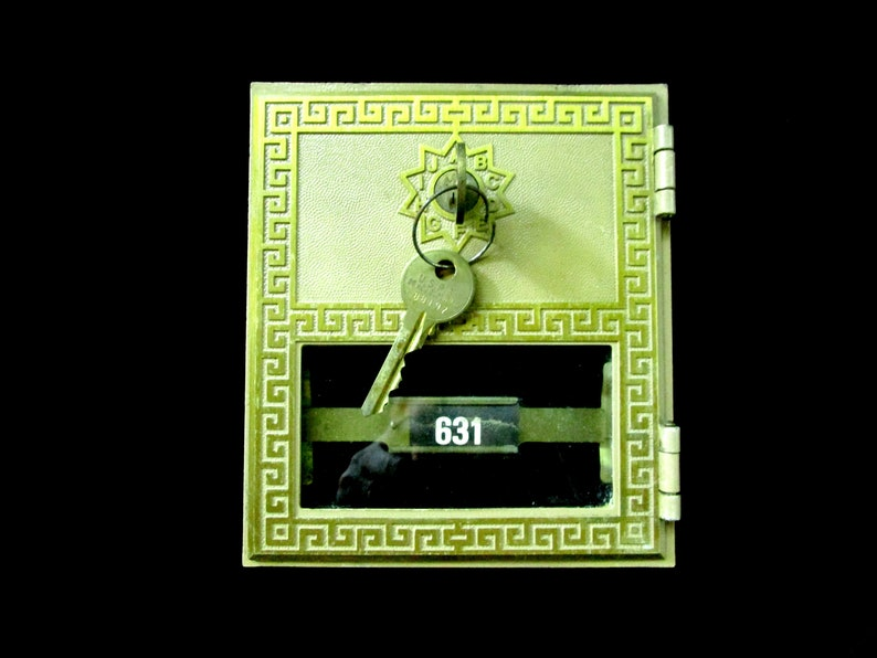 Vintage Post Office Box Door with Key Double Wide Locking image 0