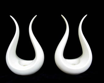 Pair of Candle Holders, Lenox Lyre Form, White Mid Century Design, Excellent Condition, Ships Free