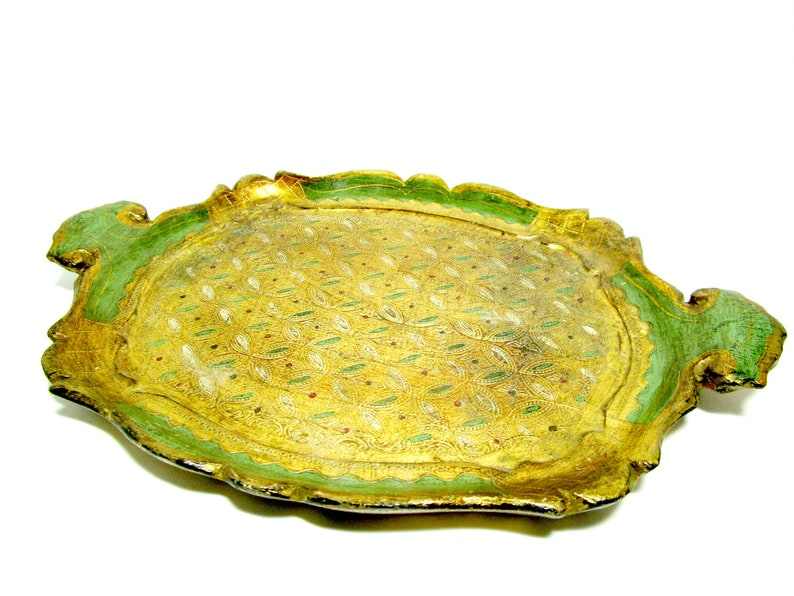 Italian Florentine Tray Cocktail Tray or Dresser Tray Green image 0