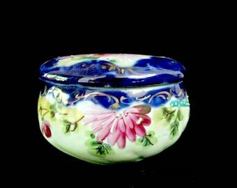 Antique Nippon Powder Jar, Jewelry Dish, Cobalt Blue, Moriage, and Pink Flowers, Powder Dish, Vanity or Dresser Box, Anniversary Gift