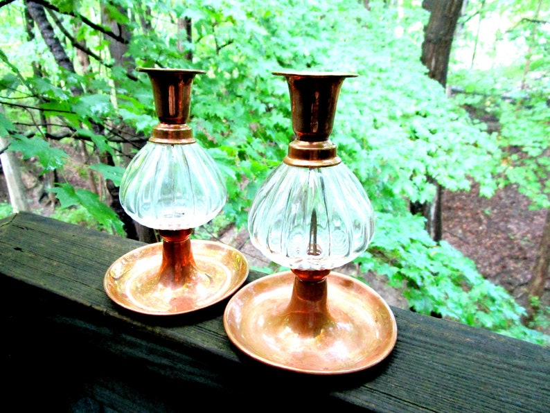 Vintage Copper Candleholders Glass and Copper Copper image 0