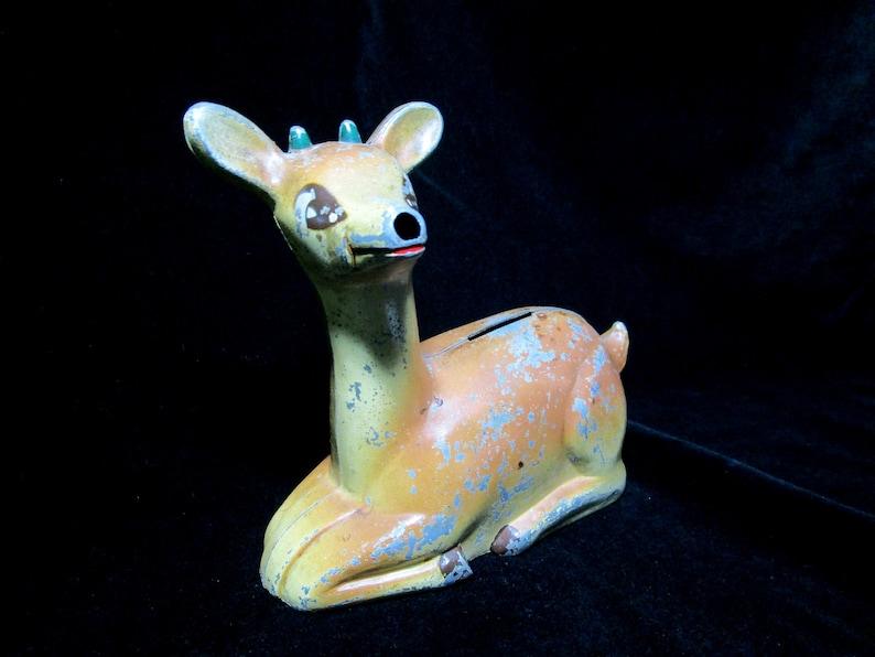 Vintage Metal Deer Piggy Bank Coin Bank Reindeer Bank image 0