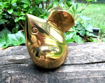 Large Brass Mouse Figurine, Brass Mouse, Brass Mouse Paperweight