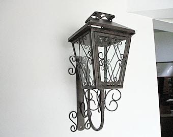 Mid Century Lantern, Wall Mount, Metal Scrolls, Wrought Iron, Garden Candle Holder, Glass Panes, Mediterranean Flair, Housewarming Gift