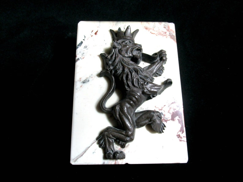 Door Stop Standing Lion on Granite or Marble Brick Bookend image 0