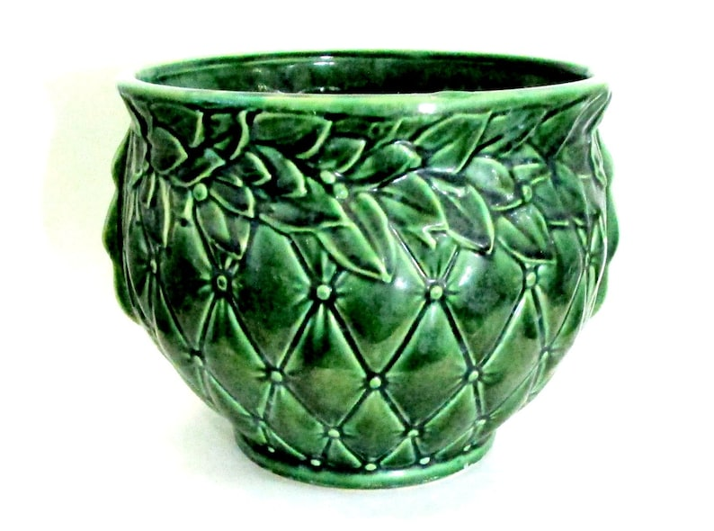 McCoy Pottery Jardiniere Large Green Planter Quilted image 0