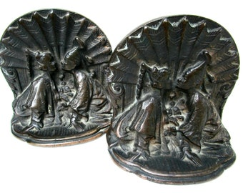 Bookends for Asian Decor, Heavy Cast Metal, Siam Couple Kissing, Thai Design, Great Gift for Book Lover, 1920s